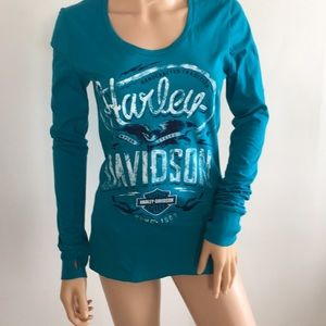 Harley Davidson blue long sleeve T-Shirt